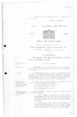 Falkland Islands, Revised Edition of the Laws (Amendment) Ordinance , no 2 of 1951