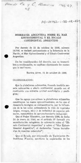 Argentina, Decree no. 14,708 declaring rights of national sovereignty over Argentine epi-continen...