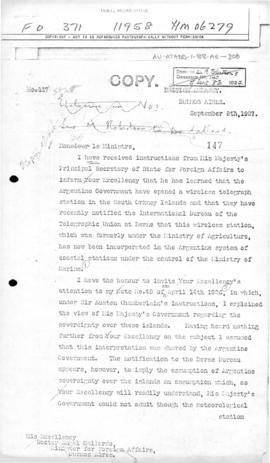 British note to Argentina concerning Argentine notification to the International Bureau of the Te...