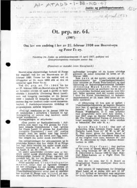 Recommendation of the Ministry of Justice and Police in support of a law amending law no. 1 of 27 February 1930 concerning Bouvet Island and Peter I Island by including Queen Maud Land