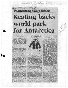 "Scott, Keith ""Keating backs world park for Antarctica"" The Canberra Times"