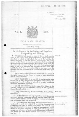Falkland Islands, Mining Ordinance, no 1 of 198