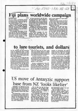 "Press article ""US move of Antarctic support base from NZ looks likelier"" Canberra Times"