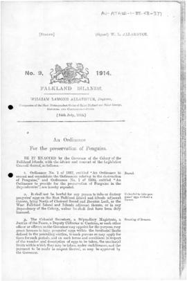 Falkland Islands, Penguin Preservation Ordinance, no 9 of 1914