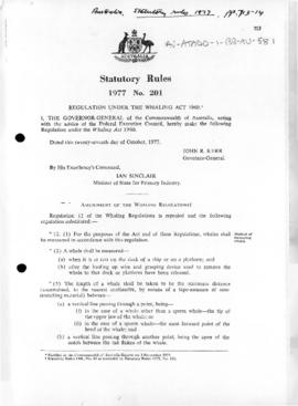 Regulations under the Whaling Act 1960