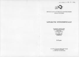 "David Lyons ""Antarctic hypotheticals: a summary report on presentations held at the University of Tasmania"" Institute of Antarctic and Southern Ocean Studies"