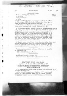 Tasmania Statutory Rules 1978, National Parks and Reserves Amendment Regulations 1978