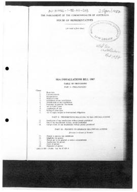 Australia, Sea Installations Bill 1987