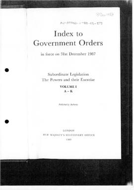 United Kingdom, Index to Government Orders in force