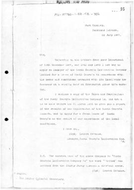 Letter concerning lease of South Georgia for sealing and mining