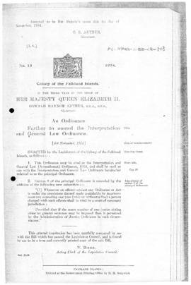 Falkland Islands, Interpretation and General Law (Amendment) Ordinance, no 15 of 1954
