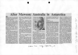 "Black, Harry ""After Mawson: Australia in Antarctica"" book review, The Canberra Times"