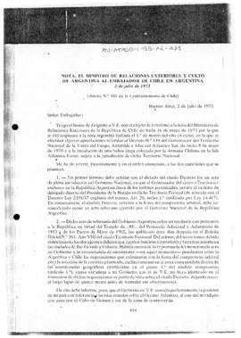 Argentine note to Chile regarding territorial claims
