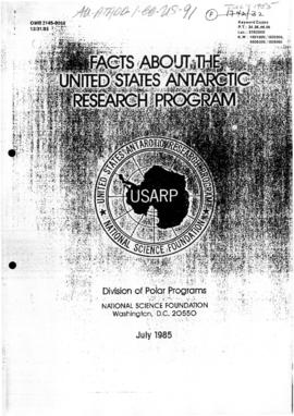 United States National Science Foundation booklet on US Antarctic Program, US Air Force fact sheet on Operation Deep Freeze, and information sheet on ITT Antarctic Services Inc