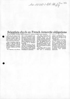 "Smith, Stephen Murray ""Scientists check on French Antarctic obligations"" Australian"