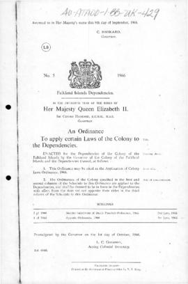 United Kingdom, Falkland Islands Dependencies, Ordinance to Apply Certain Laws of the Colony to the Dependencies 1966, and related ordinances to 1978