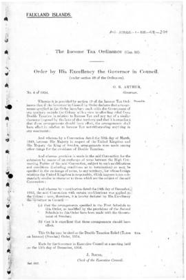 Falkland Island, Income Tax Ordinance, Double Taxation Relief (Taxes on Income) (Sweden) Order, no 4 of 1954