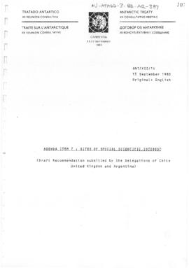 "Twelfth Antarctic Treaty Consultative Meeting (Canberra) Working paper 14 ""Sites of Special ..."