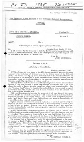 Admiralty letter to the British Colonial Office concerning definition of Graham Land