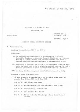 "Tenth Antarctic Treaty Consultative Meeting (Washington) Working paper 31 Revision 4 ""Site o..."
