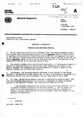 "United Nations General Assembly, Forty-fifth session, ""Question of Antarctica, Report of the Secretary-General"" (A/45/458)"