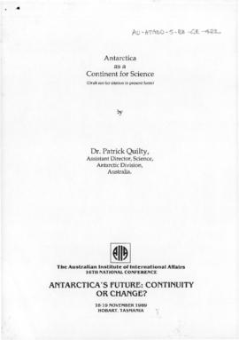 "Patrick Quilty ""Antarctica as a continent for science"""