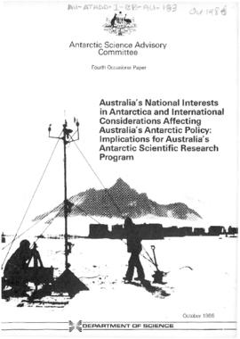 "Australia, Department of Foreign Affairs paper, Antarctic Science Advisory Committee, ""Austr..."