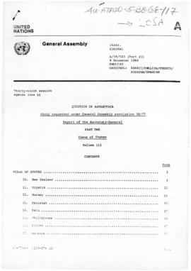"United Nations General Assembly, 39th session, ""Question of Antarctica"", Views of States, Volume III"