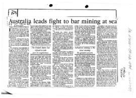 "Scott, Keith ""Australia leads fight to bar mining at sea"" The Canberra Times"
