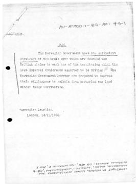 Norwegian note to the United Kingdom concerning territories which the Imperial Conference 1926 asserted to be British