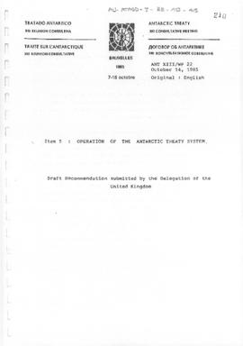 "Thirteenth Antarctic Treaty Consultative Meeting (Brussels) Working paper 22 ""Operation of t..."