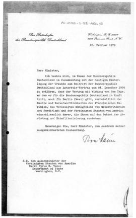 Federal Republic of Germany, note concerning application of the Antarctic Treaty to West Berlin