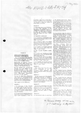 Falklands/Malvinas conflict, draft interim agreement; and related documents