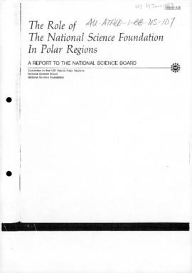 "United States, National Science Foundation ""The role of the National Science Foundation in the polar regions"""