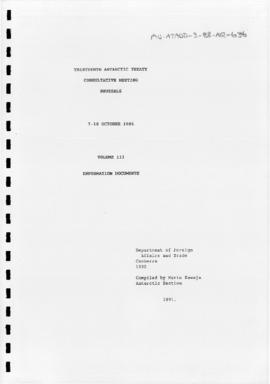 Thirteenth Antarctic Treaty Consultative Meeting (Brussels), documents, English series volume III