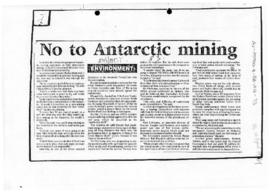 Press articles concerning opposition to Antarctic mining