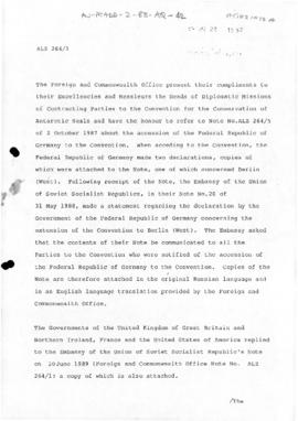 UK note concerning declarations By the Soviet Union and the Federal Republic of Germany about the...