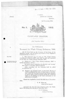 Falkland Islands, Whale Fishery Amendment Ordinance, no 9 of 1915