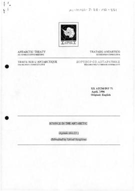 "Twentieth Antarctic Treaty Consultative Meeting (Utrecht) Information paper 71 ""Science in the Antarctic"" (XX ATCM/INF 71) (United Kingdom)"