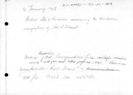 British letter to Australia concerning Australian occupation of Heard Island