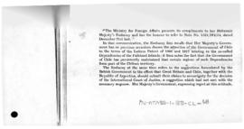 Chilean note to the United Kingdom giving reasons for rejecting the British proposals to submit the dispute over Antarctica to judicial settlement
