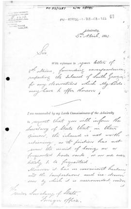Admiralty letter to British Foreign Office suggesting that South Georgia is not worth retaining
