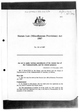 Australia, Statute Law (Miscellaneous Provisions) Act 1987