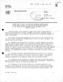 British note to the United Nations Security Council replying to arguments in favour of Argentine intervention in the Falkland (Malvinas) Islands, South Georgia Island and the Sandwich Islands
