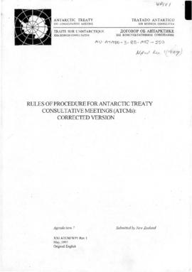 Twenty-first Antarctic Treaty Consultative Meeting (Christchurch) Working paper 1 Revision 1 &quo...