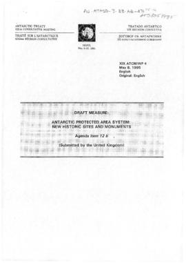 "Nineteenth Antarctic Treaty Consultative Meeting (Seoul) Working paper 4 ""Antarctic protecte..."