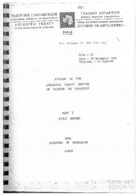 "Fifth Antarctic Treaty Consultative Meeting (Paris) Working paper 23 ""Records of the Antarct..."