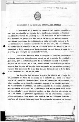 Uruguay note concerning accession to the Antarctic Treaty