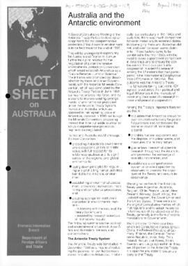 "Australia, Department of Foreign Affairs and Trade, Fact Sheet on Australia ""Australia and the Antarctic environment"" Fact Sheet No 50"