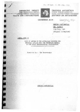 "First Antarctic Treaty Consultative Meeting (Canberra) Secretariat paper 9 ""Copy of letter t..."